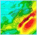 36 Hour forecast of surface winds from the NAM model